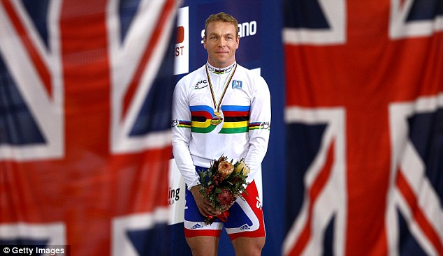 Main man: Sir Chris Hoy celebrates after beating Maximilian Levy and Jason Kenny in the keirin