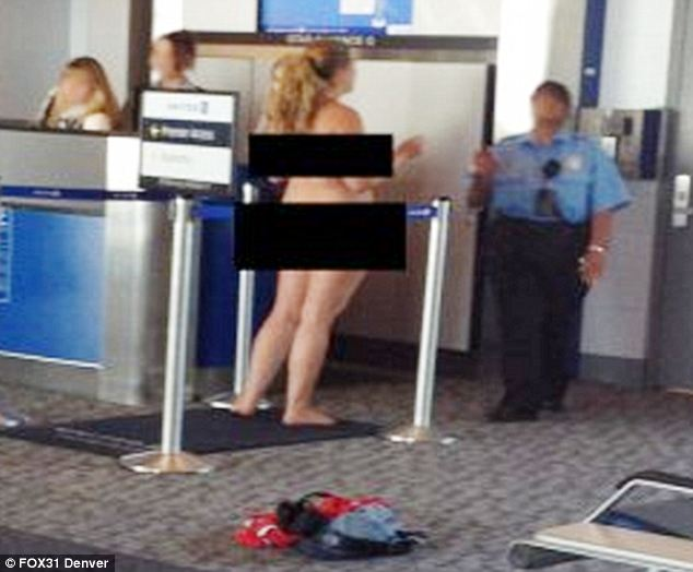 The passenger shocked staff and onlookers when she stripped by a Denver Airport boarding gate