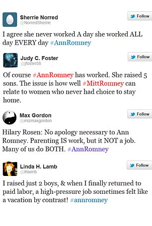 Anne Romney Defends Her Self After Hilary Rosen Says She