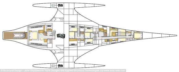 Plan: Adastra's 16-metre beam features a saloon area on the main deck with a lounge area, dining table, and navigation station