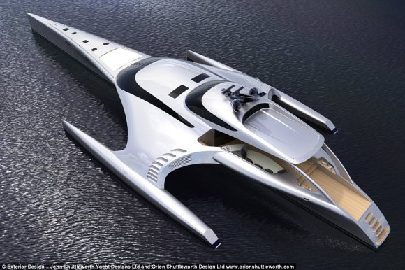 Shiny: As the designs show, the boat has a bathing platform at the back where passengers relax as the it glides effortlessly across the open sea