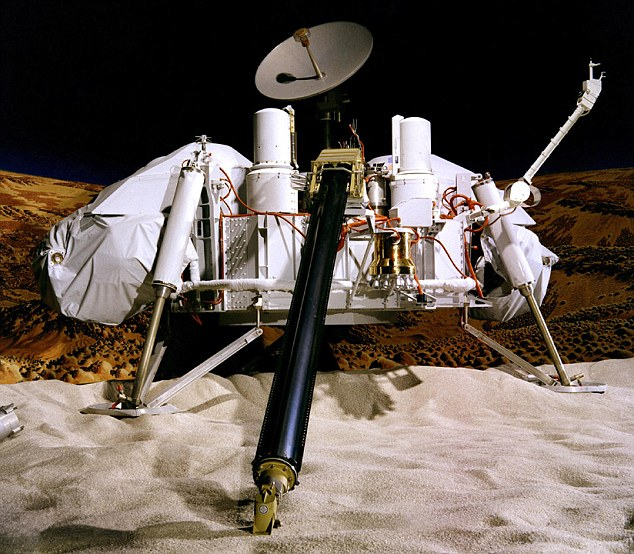 The Viking 1 lander which arrived on Mars in July 1976: Scientists now believe there is strong evidence of microbial life in the soil samples analysed by Viking 1