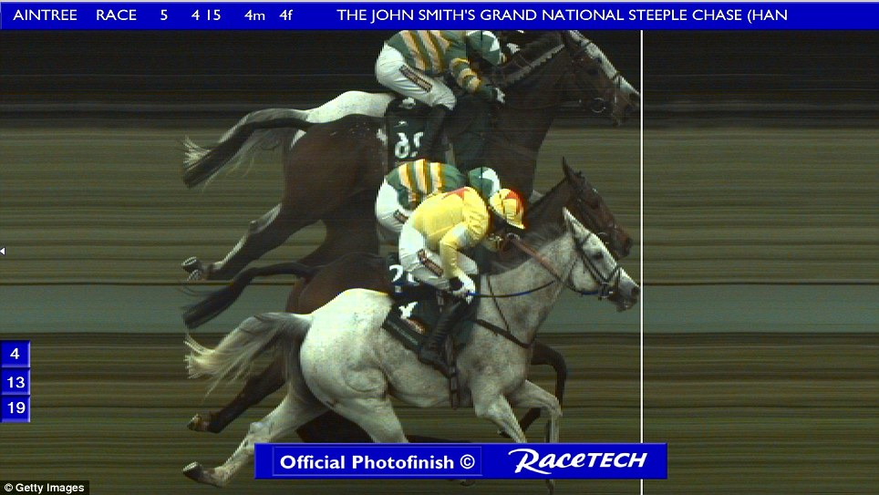 By a whisker: In this handout image provided by Racetech, the official photofinish shows grey horse Neptune Collonges edging a nose past Sunnyhillboy