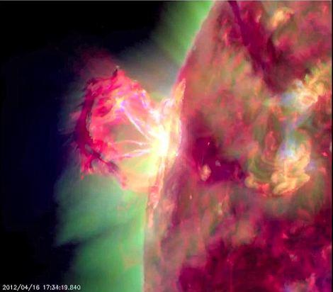 The eruption as seen through a filter