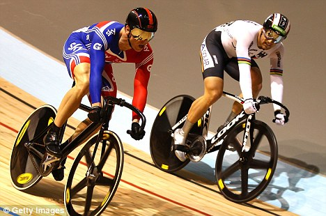 Outrageous manouvre: Sir Chris Hoy beats Maximilian Levy in the Keirin final