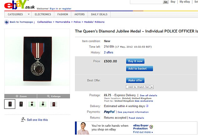 Cash for honours: The Queen Diamond's Jubilee medals are selling on eBay
