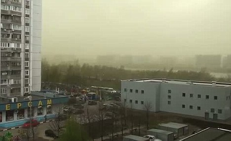 Chemical spill? Green tinted clouds loomed over Moscow today giving rise to mass speculation about its cause on Twitter
