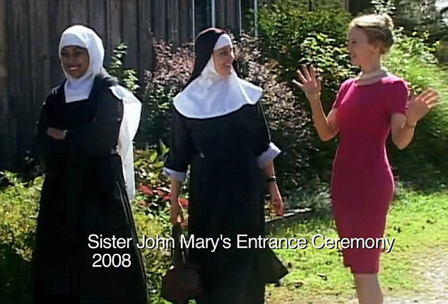 New life: Laura at the abbey, in smart dress and pearls, before becoming Sister John Mary