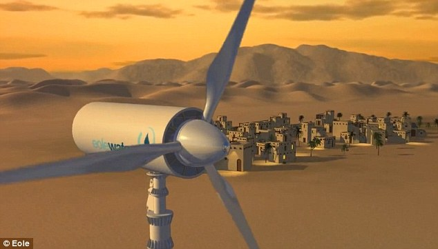 Wind power: The turbine can generate both electricity and water with nothing else required except humid air
