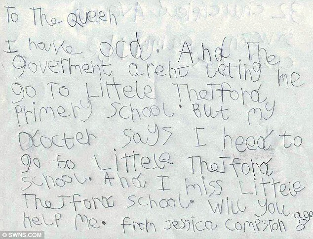 Queen comes to aid of anxious schoolgirl, 8, who was