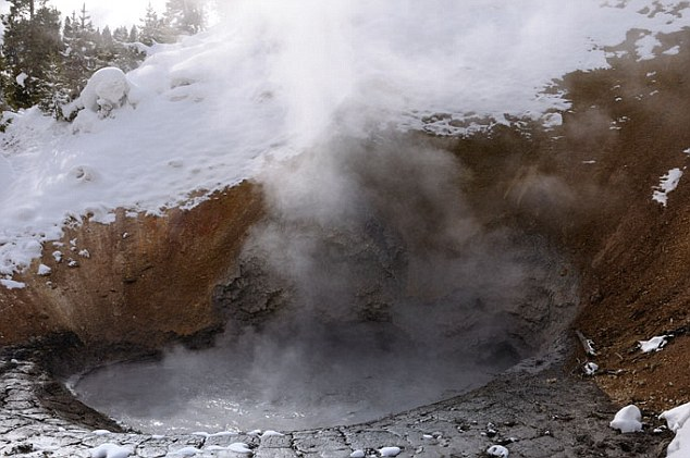 Steaming Mud Volcano at Yellowstone National Park in winter. Researchers now believe that the supervolcano beneath the park could be more active than thought