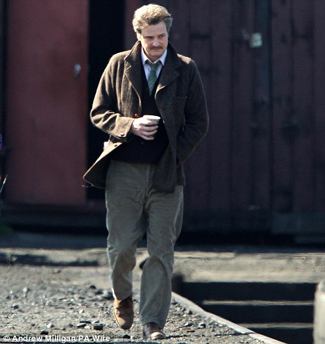 Looks: Colin Firth on set of the film The Railway Man being filmed in Scotland