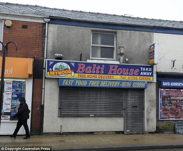 El abuso comenzó a las dos robos de balón en el área de Heywood, de Rochdale, incluyendo la Casa de Balti (en la foto)