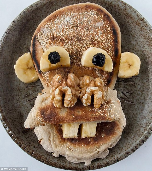 Monkey business: An ape made of bagels, bananas and walnuts for a nose, is also featured