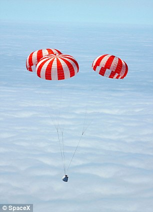 August 12, 2010 SpaceX conducted a high altitude drop test to verify the parachute recovery system for the Dragon spacecraft
