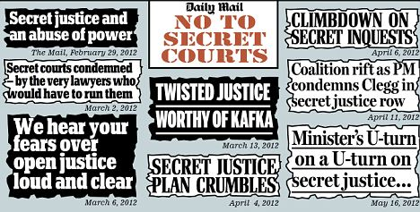 No to secret courts: Some of the headlines from the Mail's campaign over the past few months
