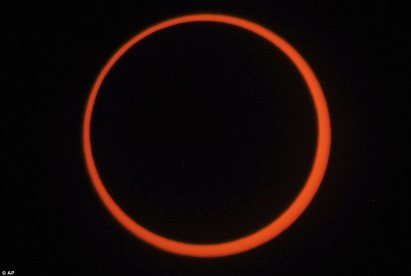 The ring of fire: the rare annular eclipse as seen from Albequerqe, New Mexico, one of the western states where it was most visible