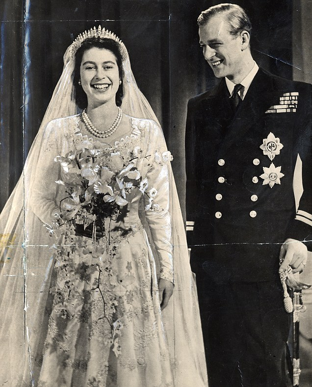 Just married: The official portrait of Princess Elizabeth and Prince Philip Duke of Edinburgh after their wedding ceremony