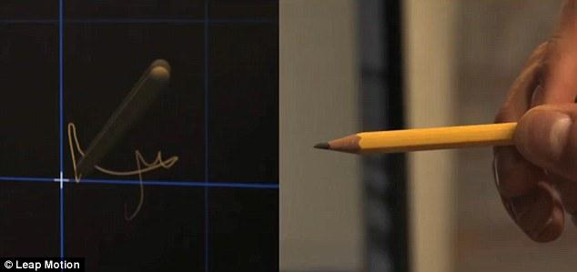 استخدام صورة Leap Motion فى الكتابة بالاقلام