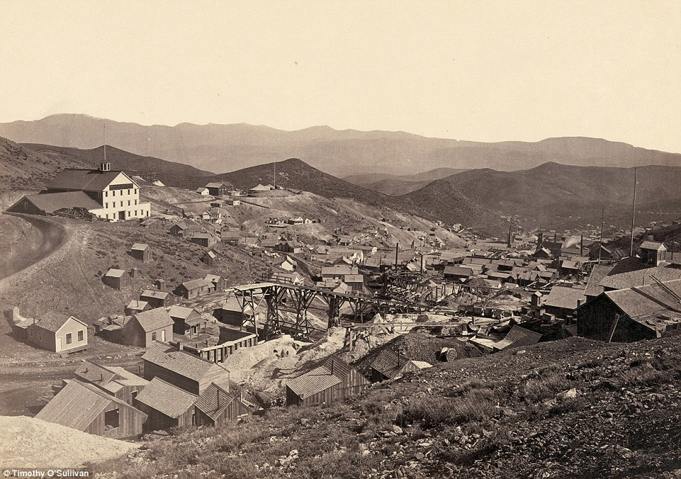 Industrial revolution: The mining town of Gold Hill, just south of Virginia City, Nevada, in 1867