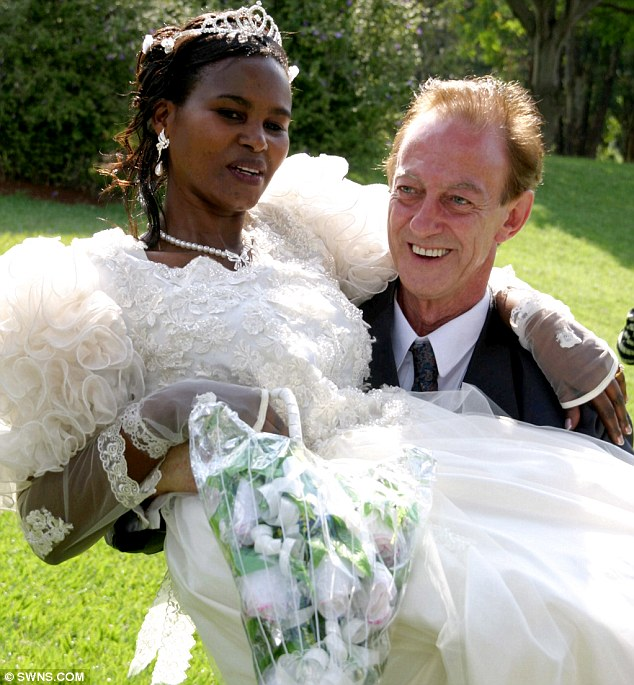 Awkward: When first wife Priscila Njenga, left, walked out on Mr Reeves the builder found out she was already married and had lied about her age, telling him she was 34 when she was 40