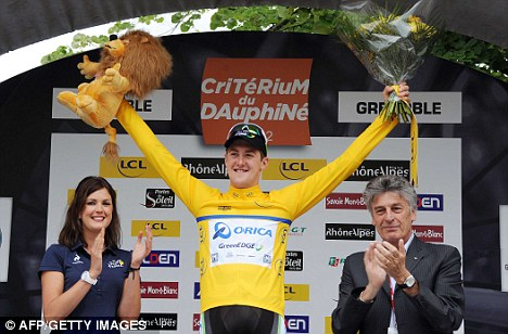 Main man: Luke Durbridge celebrates on the podium after winning the prologue
