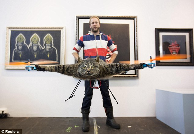 Flying high: Bart Jensen has dubbed his cat art The Orvillecopter