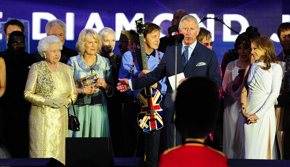 Prince Charles paid a tribute to 'Mummy' ons tage at Buckingham Palace after a momentous concert featuring some of the world's leading musicians - such as Paul McCartney, Sir Tom Jones and Elton John - in the background