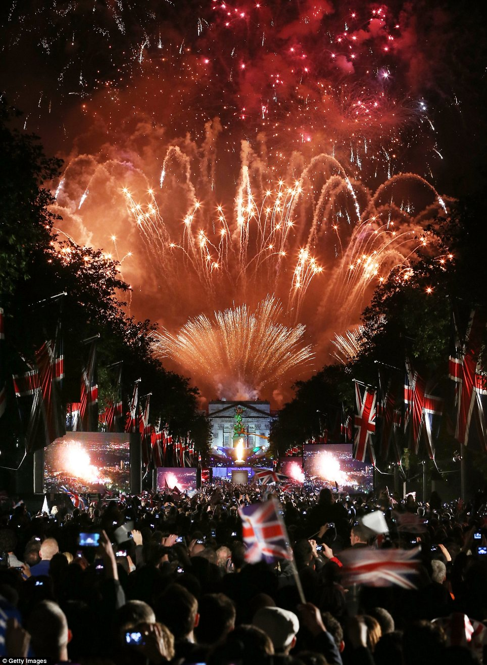 Explosion: Fireworks over Buckingham Palace mark the end of The Diamond Jubilee Concert