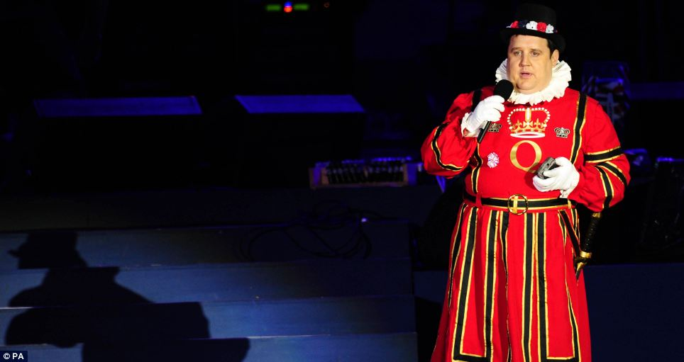 He's making the effort: Comedian Peter Kay arrived dressed as a Beefeater
