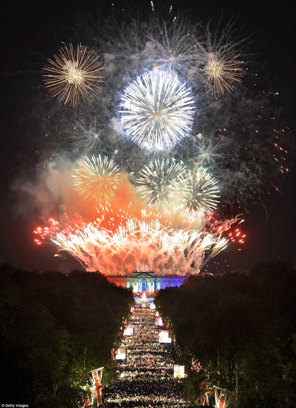 Spectacular: Fireworks mark the end of The Diamond Jubilee Concert