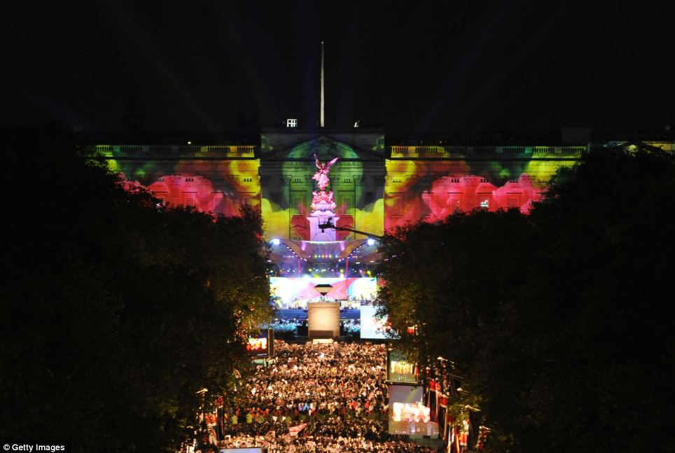 Awesome: Incredible backdrop for Paul McCartney's performance outside the palace