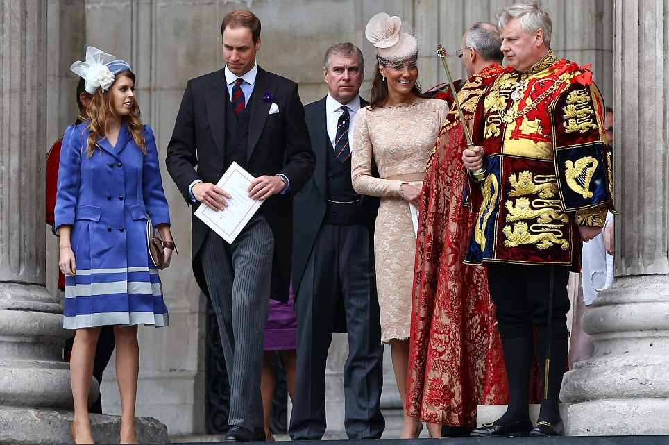 Princess Beatrice, Prince William, Duke of Cambridge, Prince Andrew, Duke of York, and Catherine, Duchess of Cambridge