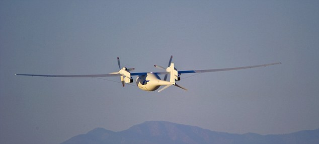The liquid-hydrogen powered aircraft lifted off its launch cart. Phantom Eye climbed to an altitude of 4,080 feet and reached a cruising speed of 62 knots