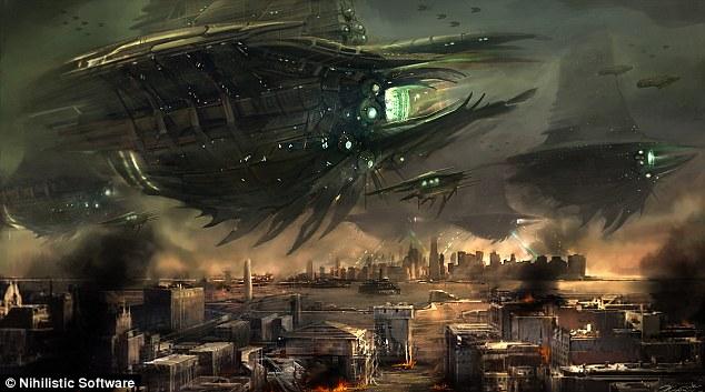 Resistance: Céus Ardentes é um exemplo de uma invasão alienígena - com os invasores levando em Nova York nesta cena
