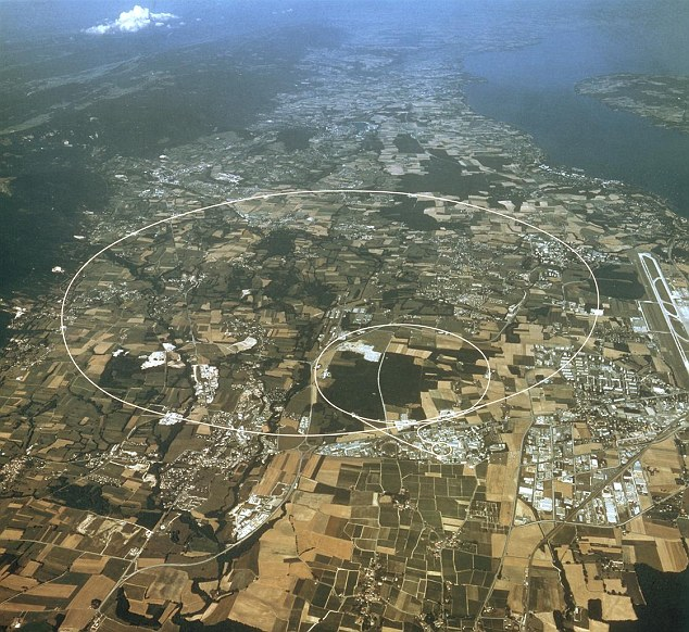 A full moon disrupts the circle: An aerial view of the Swiss-French border, indicating the route of the Large Hadron Collider