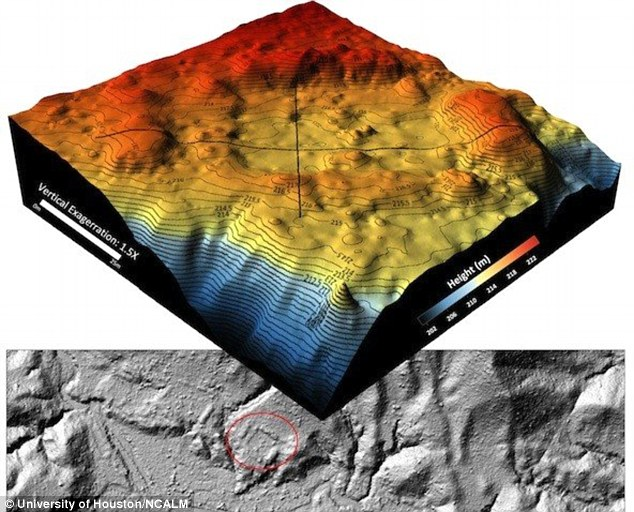 The University of Houston and National Center for Airborne Laser Mapping team produced this 3D digital topological map which when examined shows a man-made plaza ringed in red