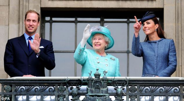 Music to their ears: The throng sang God Save the Queen while the cheerful group enjoyed the moment