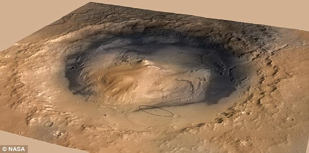 Nasa's revised estimate of the landing target area for Curiosity, which is due to touch down in August