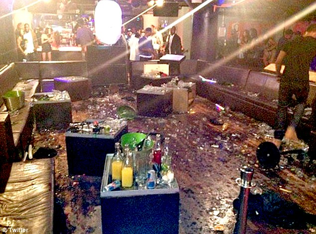 The aftermath: Broken glass can be strewn across the bar following the Chris and Drake fight