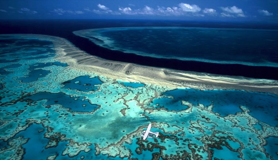 Amazing aerial view: A De Havilland Beaver Biplane delivers scuba divers to Hook and Hardy Reef on the Great Barrier Reef, Australia