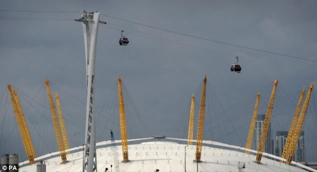 Cabins are tested high above the O2 arenas, formerly the Milennium Dome and the River Thames in London