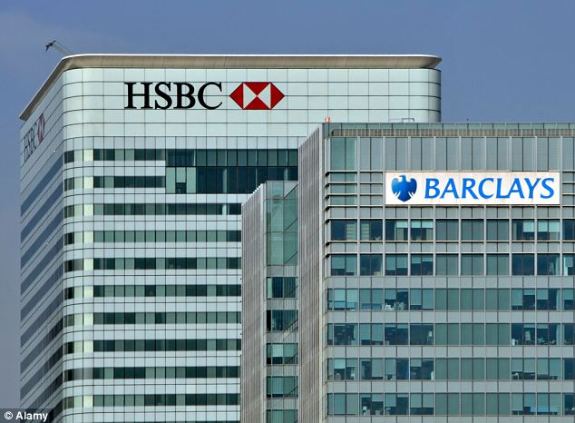 Barclays Bank Tower at Churchill Place, Docklands: The bank has been fined £290million over attempts to rig money market interest rates. HSBC is also under investigation, it emerged today