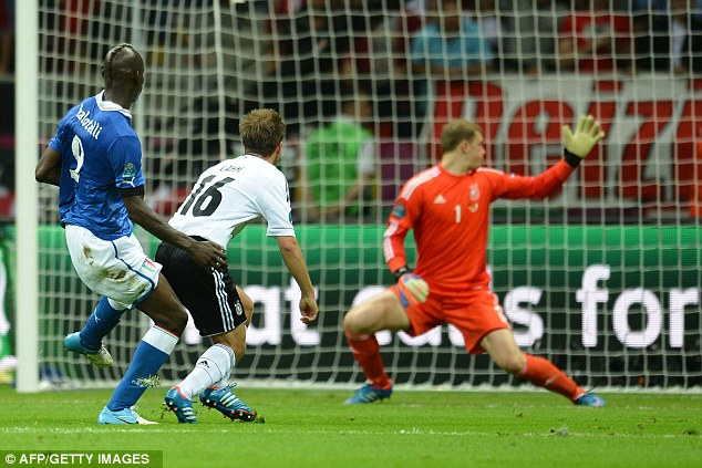 Not a prayer: Ballotelli latches on to Riccardo Montolivo's through ball to give Neuer no chance with the second