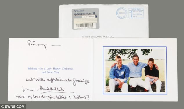 Ominous: Christmas card with picture of Prince William, Prince Charles and Prince Harry from Prince Charles to Sir Jimmy in which Prince Charles writes 'give my love to your ladies'