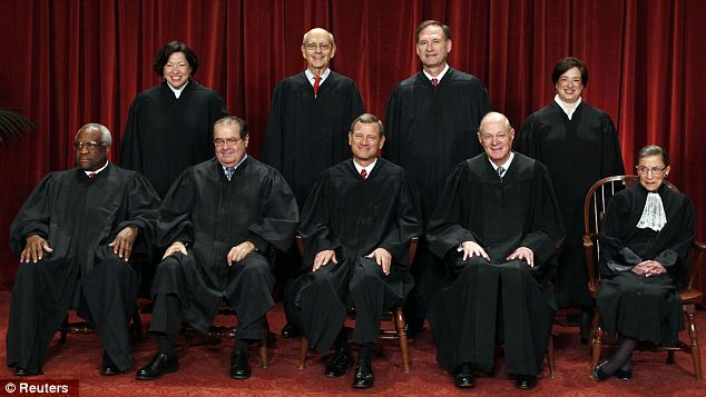 The decision makers: Back row (L-R) Sonia Sotomayor, Stephen Breyer, Samuel Alito, Elena Kagan. Front row: Clarence Thomas, Antonin Scalia, Chief Justice John Roberts, Anthony Kennedy, Ruth Bader Ginsburg