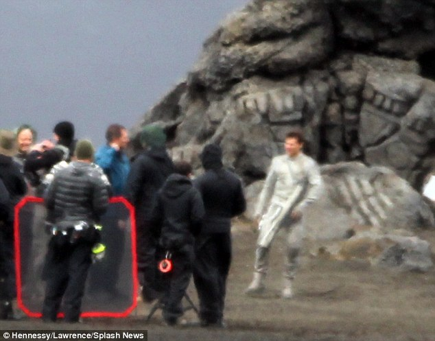 Focused on work: Tom was pictured on filming his new movie Oblivion in Iceland on Wednesday