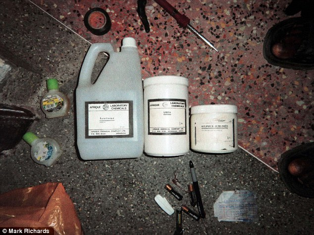 Chemicals for bomb making, pictured, which were found in the house of Samantha Lewthwaite