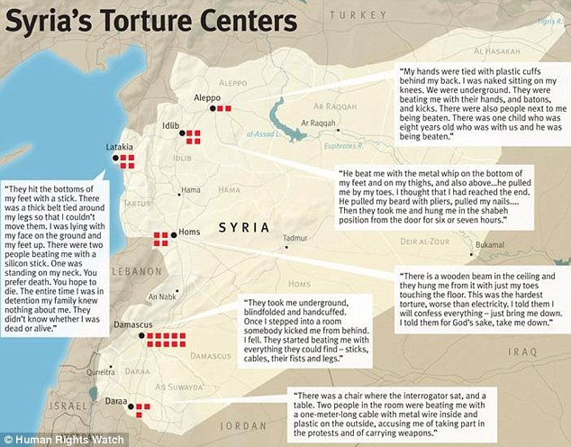 Inhumane: This map shows the various locations are descriptions by some of those who claimed they were tortured by Syrian intelligence agencies