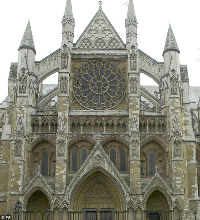 Similarities: The spires featured in the newly discovered crop circle are thought to resemble Westminster Abbey, pictured here